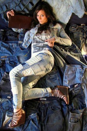 brown hm shoes - blue hm jeans - blue hm jacket - brown vintage purse - white Za