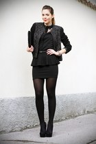 black sarenzait shoes - black elena miro jacket - black romwe shirt