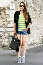 black Michael Kors bag - black H&M blazer - navy H&M shorts