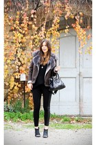 black pavement rock shoes - dark brown Guess jacket - black H&M sweater