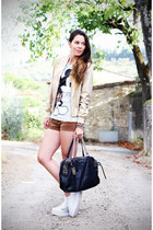 white Jeffrey Campbell shoes - camel love is love jacket - brown Primark shorts
