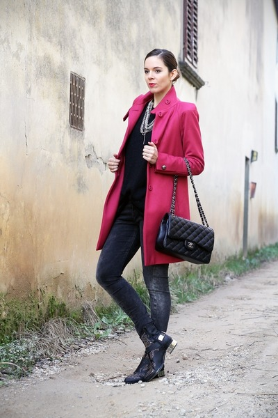Hot Pink Byblos Coats, Black Jeffrey Campbell Shoes, Dark Gray ...