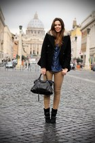 black Chocolate shubar gis shoes - black 070ST coat - navy La Redoute shirt