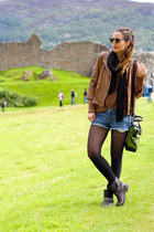 brown Zara sweater - sarenzait boots - brown Stefanel shirt