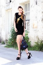 black buffalo lizzy shoes - yellow Sheinside shirt - black Prada bag