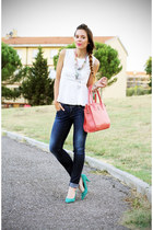 navy Pepe Jeans jeans - turquoise blue buffalo jane shoes - bubble gum Tous bag