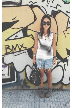 black balenciaga bag - blue Levis shorts - black Celine sunglasses