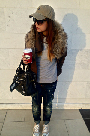 dark brown Zara jacket - blue DSquared jeans - dark khaki Ralph Lauren hat