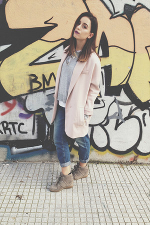 light pink H&M coat - blue H&M jeans - black balenciaga bag