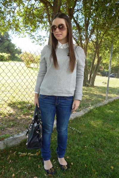 8e9fdbd0f17849 balenciaga bag - Zara jeans - Zara sweater - tory burch flats