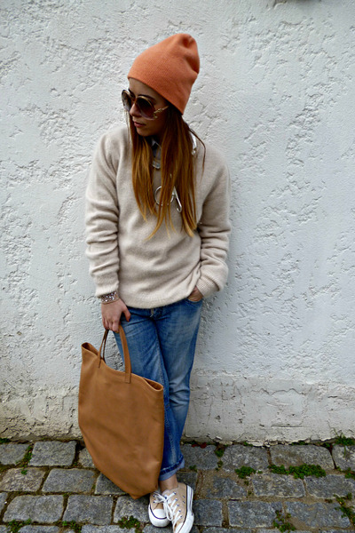 nude balenciaga sunglasses - blue DSquared jeans - salmon H&M hat