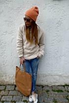 nude balenciaga sunglasses - blue DSquared jeans - salmon H&M hat