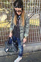 black balenciaga bag - blue DSquared jeans - dark khaki Zara jacket