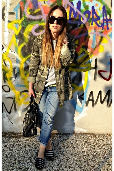 army green Zara jacket - blue DSquared jeans - black balenciaga bag