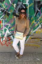 white Zara jeans - light brown Massimo Dutti sweater - gold Zara bag