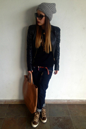 heather gray Sisley hat - blue DSquared jeans - black Versace for H&M jacket