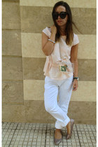 light purple Taradise bracelet - white Zara bag - black Celine sunglasses