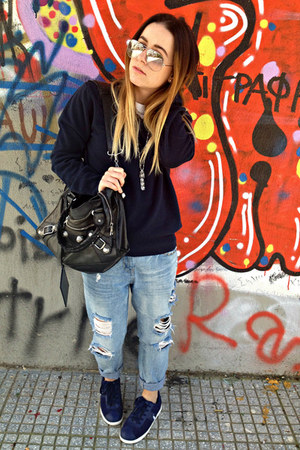 blue Zara jeans - navy united colors of benetton sweater - black balenciaga bag