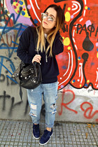 blue Zara jeans - navy united colors of benetton sweater - black balenciaga bag