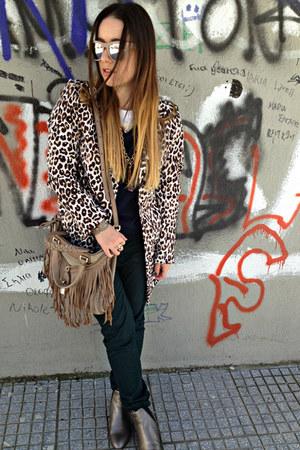 brown H&M coat - silver Massimo Dutti boots - beige D&G bag
