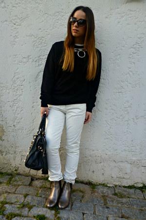 black united colors of benetton sweater - silver Massimo Dutti boots