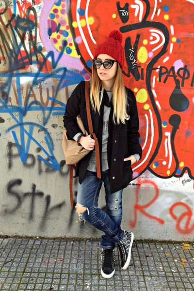 black Zara jacket - blue DSquared jeans - heather gray Zara sweater