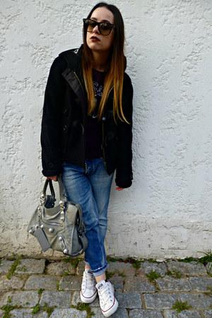 black Burberry jacket - blue DSquared jeans - periwinkle balenciaga bag
