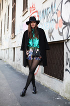 black Aldo shoes - black Panizza hat - aquamarine milly shirt