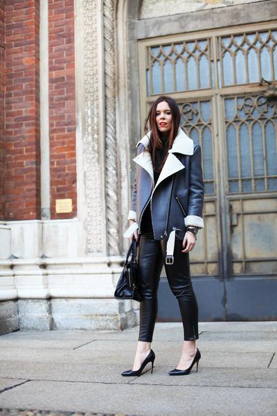 black balenciaga bag - gray Bellevior jacket - black BLANCO pants
