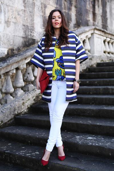 blue Parosh coat - white Mavi jeans - red Verdementa bag - yellow Parosh t-shirt