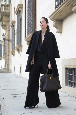 black Aniye By coat - dark brown Yves Saint Laurent bag - black Alexoo suit
