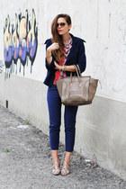 navy manila grace jacket - light brown Celine bag - navy H&M pants