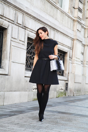 white dior bag - black project 149 dress - black Roger Vivier heels