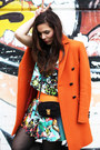 Carrot-orange-aspesi-coat-black-coccinelle-bag-sky-blue-milly-skirt