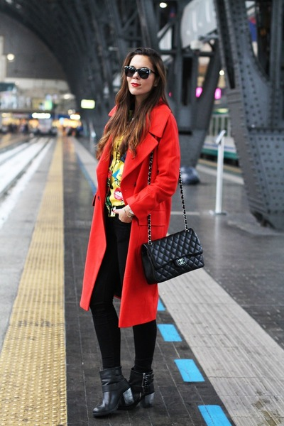 red asos coat - black Aldo shoes - yellow Sheinsidecom sweater