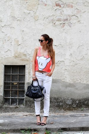 salmon Sugartops top - black Zara shoes - black balenciaga bag