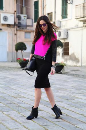 black sarenza shoes - hot pink milly sweater - black Stradivarius skirt
