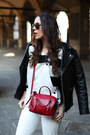White-aldo-shoes-red-coccinelle-bag-white-milly-suit