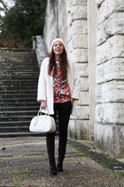 red Romwecom sweater - black Zara shoes - white Pimkie coat - white Prada bag