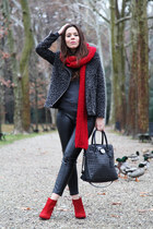 dark gray Forever 21 coat - red sarenza shoes - red Zara scarf