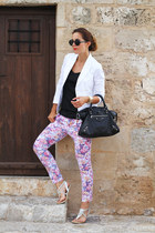 white Fabi jacket - white sarenza shoes - black balenciaga bag