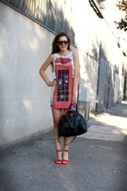 red Romwecom dress - black Prada bag - red unisa ylan heels