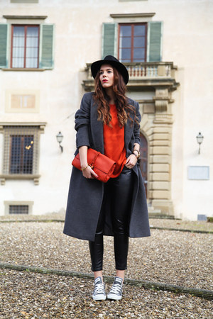 red Gucci bag - sky blue Converse shoes - gray sportmax coat - black Panizza hat