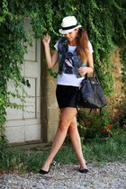 black Zara shoes - black Prada bag - white Manymal t-shirt - black H&M skirt
