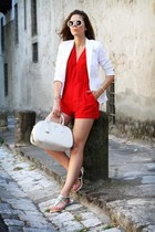 red Motel Rocks jumper - white Zara blazer - white Prada bag