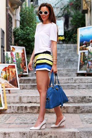 white asos shoes - blue YSL bag - white asos sunglasses