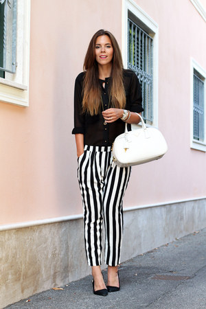 black asoscom shirt - white Prada bag - white romwe pants - black Zara heels