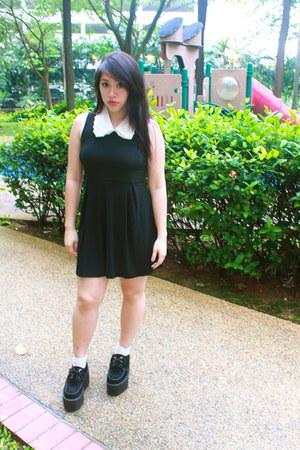 black cross back unknown dress - black suede underground england shoes