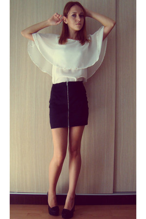 white shirt - black H&M skirt - black pumps