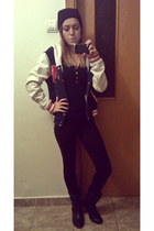 navy baseball H&M jacket - dark gray boots - black hat - dark brown leggings
